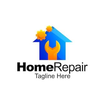 家の修理のロゴのグラデーションテンプレートデザイン