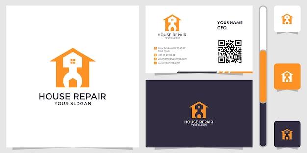 名刺デザインベクトルプレミアムと家の修理のロゴ