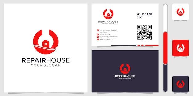 Home repair logo with business card design vector premium