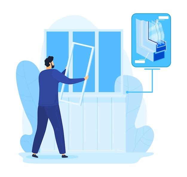 Ремонт дома, иллюстрация конструкции окна ремонта человека. разнорабочий в доме, услуги по работе со стеклом строителем. крепежный пластик, установка и замена. профессиональные монтажные работы.