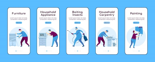 Home repair onboarding mobile app screen flat  template. household appliance.