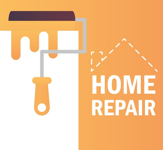 Home repair roller paint color renovation and construction