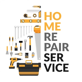 Home repair service template with set of diy home repair working tools