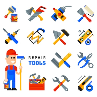Home repair tools icons working construction equipment set and service worker macter man character flat style isolated on white background.