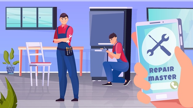 Home repairmen workflow in the background and a large smartphone in the foreground flat illustration