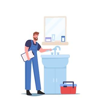 집 수리 개념입니다. 파란색 작업복을 입은 배관공 캐릭터가 집 욕실에서 깨진 세면대를 수리합니다. 수리 서비스 마스터