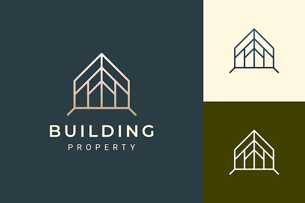 Home or resort logo in luxury style for real estate business
