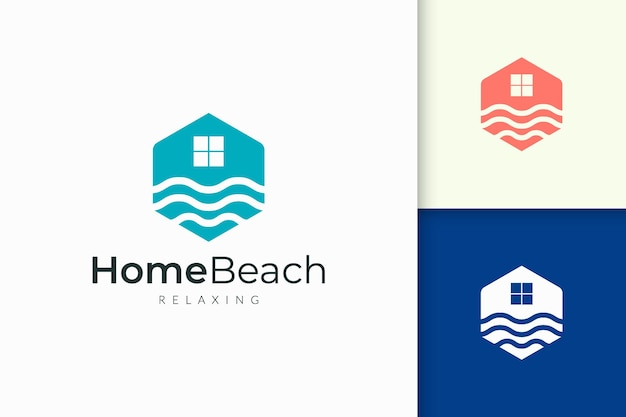 Home or resort logo in waterfront with abstract shape for real estate