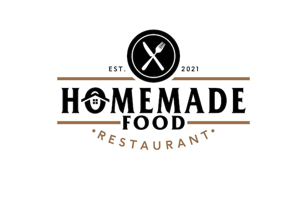 Home restaurant logo with crossed fork and knife