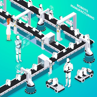 Home robots automated manufacturing line with woman and humanoid operators controlling process isometric composition