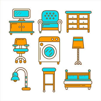 Home and room furniture interior accessories or appliances vector icons set