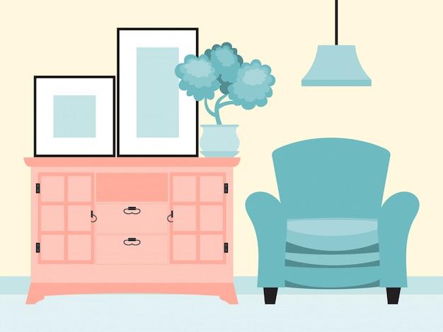 Домашняя комната внутренняя отделка, мягкое кресло стенд камеры одежды шкаф иллюстрации. домашний цветочный горшок лист.