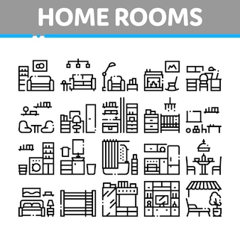 Home rooms furniture collection icons set