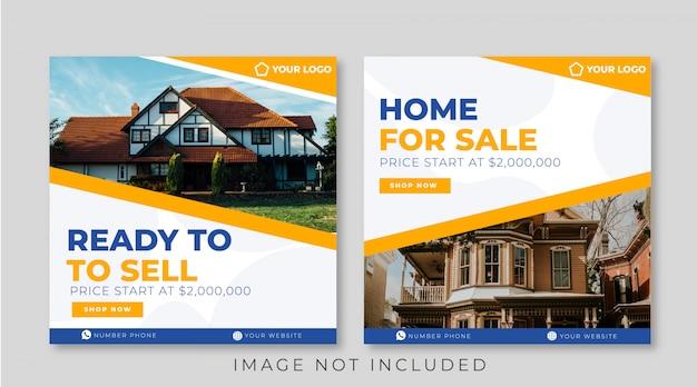 Home sale banner template for social media post