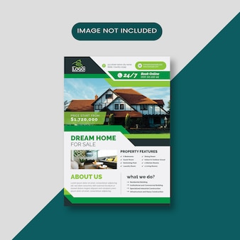 Home for sale business flyer with green  abstract