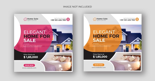 Home sale business social media post square banner template