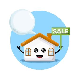 Домашняя распродажа милый персонаж логотип