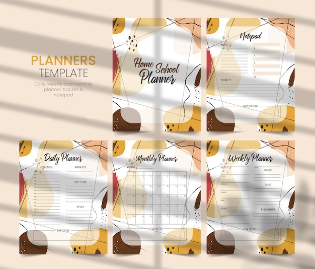 Home school planner, kdp interior, daily planner, weekly and monthly planner, notebook