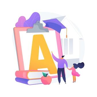 가정 학교 아이 추상적 인 개념 벡터 일러스트 레이 션. 원격 학습, 원격 가정 교육, 구조화 된 학교 프로그램, 부모는 격리 된 추상 은유 동안 아이들이 공부하도록 돕습니다.