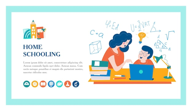 Home schooling. the concept of getting a good education at home.
