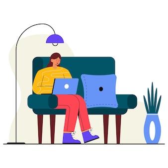 Home schooling flat illustration