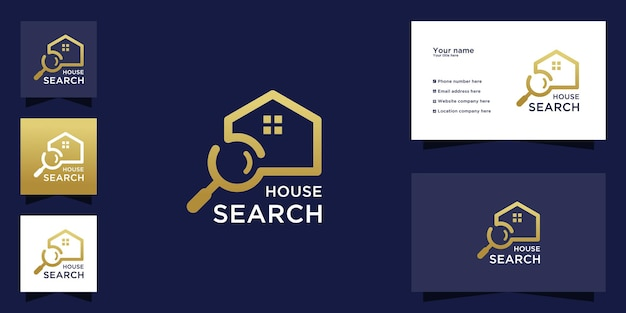 Home search logo with gold color design