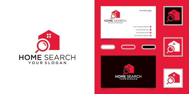 Home search and magnifying glass real estate logo design   templates