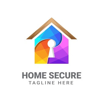 Home secure logo design template   premium, home security, key house, secure home Premium Vector