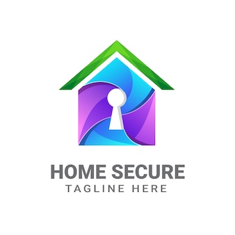 Home secure logo design template   premium, home security, key house, secure home