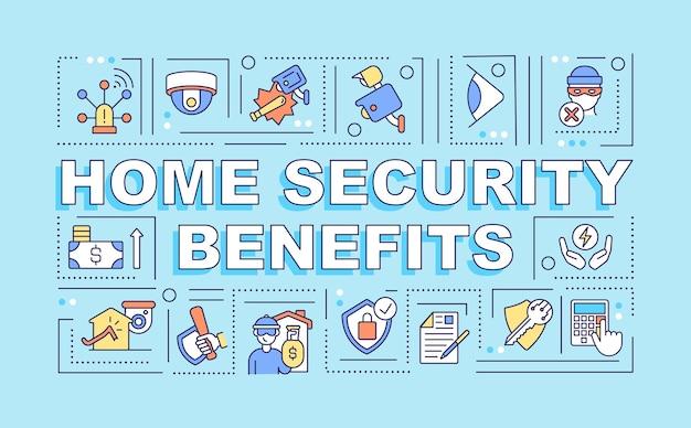 Безопасность дома преимущества слова концепции баннер. защитите дом и семью. инфографика с линейными значками на синем фоне. изолированная творческая типография. векторная иллюстрация цвета наброски с текстом