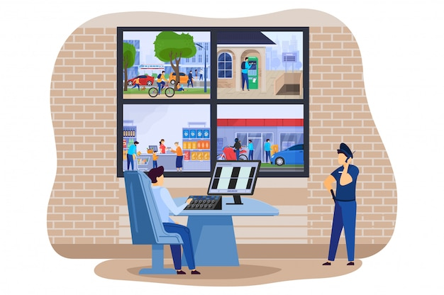 Home security camera monitors in police office with secure clever house thief guard alarm system  illustration.