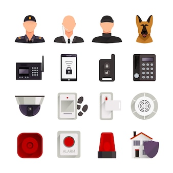 Home security flat decorative icons set with guard dog video camera and digital electronic systems for home protection isolated vector illustration