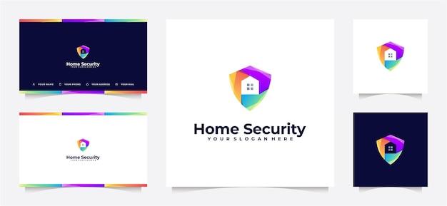 名刺付きのホームセキュリティグラデーションロゴ。