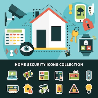 Home security icons collection with surveillance system, climate control, mobile apps smart house isolated illustration