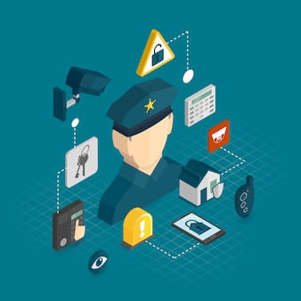 Home security isometric elements composition