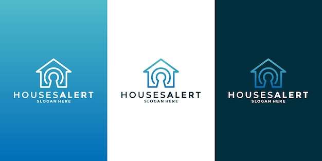 귀하의 비즈니스 부동산, 건물, 건설에 대한 홈 보안 로고 디자인 템플릿