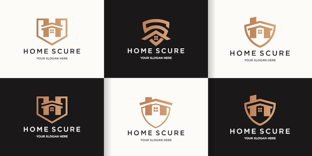 ホームセキュリティロゴセット、ホームとシールドの組み合わせのロゴ