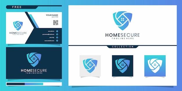 グラデーションの色の盾と家とホームセキュリティのロゴ