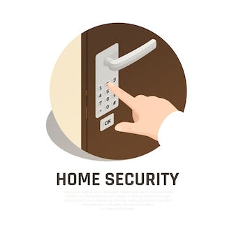 Home security round composition with human hand hand dialing lock code on front door