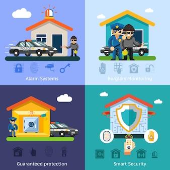 Concetti di sfondo piatto del sistema di sicurezza domestica. tecnologia di design della casa, protezione del controllo di sicurezza dei simboli