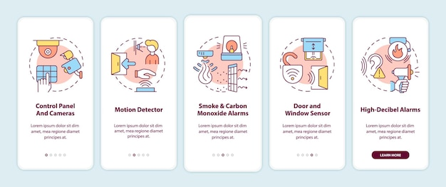 Home security system onboarding mobile app page screen. detectors and alarms walkthrough 5 steps graphic instructions with concepts. ui, ux, gui vector template with linear color illustrations