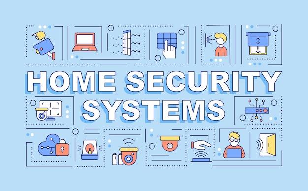 ホームセキュリティシステムの単語の概念のバナー。保護ツール。青い背景に線形アイコンとインフォグラフィック。孤立した創造的なタイポグラフィ。テキストとベクトルアウトラインカラーイラスト