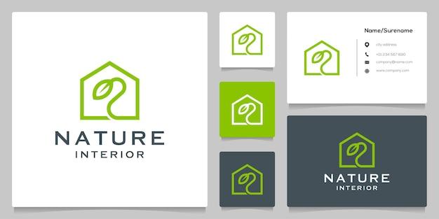 Home seed leaf logo design line outline style simple minimalist