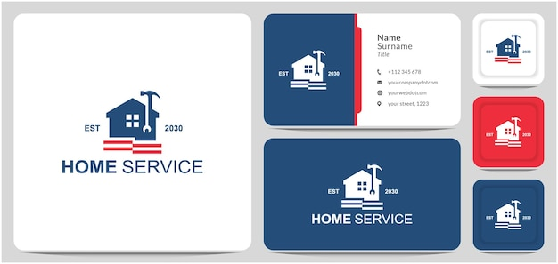 Home service logo design repair hammer wrench for business is a home renovation veteran