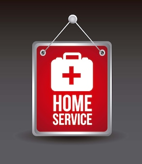 Home service with medical box vector illustration