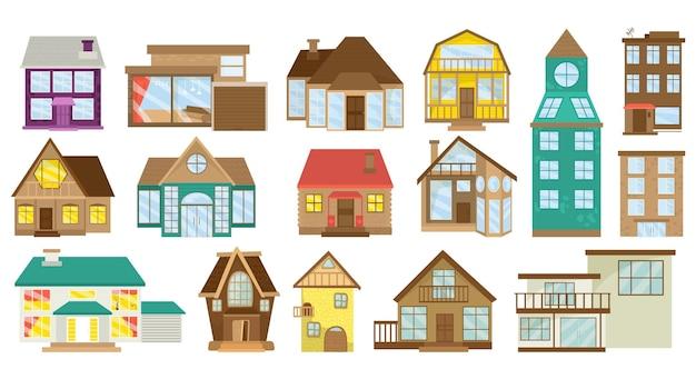 Домашний набор, изолированные на белом векторные иллюстрации. мультяшный дизайн дома, коллекция деревенских построек. современная коттеджная архитектура, недвижимость