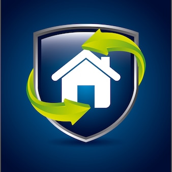 Home shield over blue background vector illustration