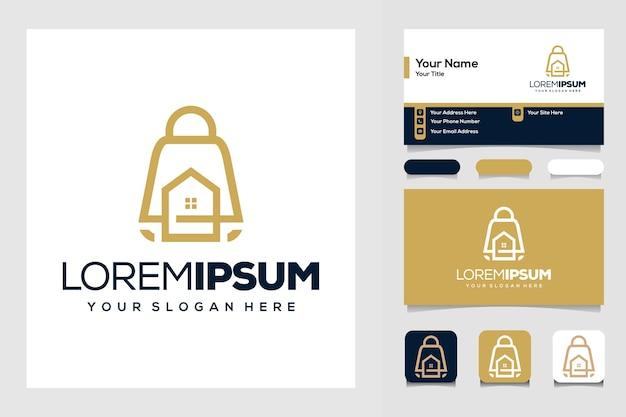 家と組み合わせたホームショップのロゴデザインテンプレートバッグ
