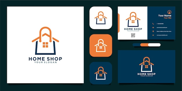 Home shop logo design with bag and business card