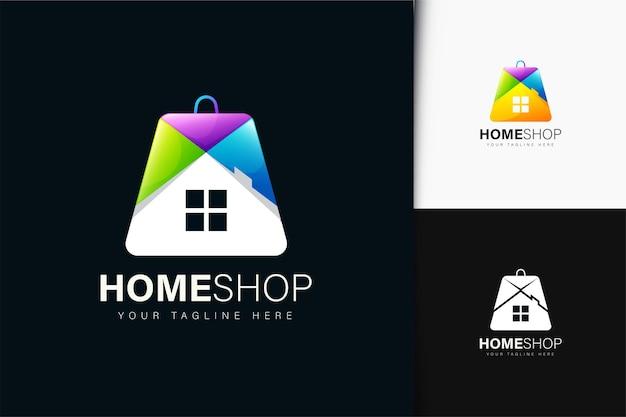 Дизайн логотипа домашнего магазина с градиентом